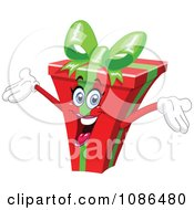 Clipart Energetic Christmas Gift Character Royalty Free Vector Illustration by yayayoyo