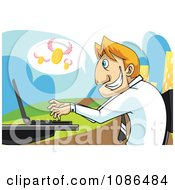 Caucasian Stock Broker Businessman Using A Laptop With Flying Coins