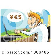 Caucasian Stock Broker Businessman Using A Laptop With Yes Currency Symbols