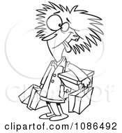 Clipart Outlined Frazzled Black Friday Shopper Woman Royalty Free Vector Illustration