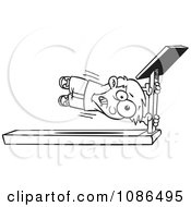 Clipart Outlined Boy Holding Onto A Treadmill Bar Royalty Free Vector Illustration by Ron Leishman