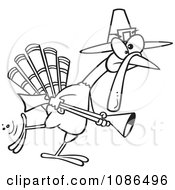 Clipart Outlined Turkey Pilgrim Hunting Royalty Free Vector Illustration