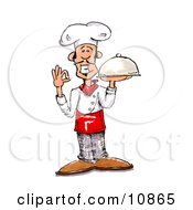 Male Chef In A Chefs Hat Holding A Serving Platter Clipart Picture