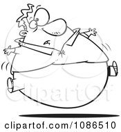 Clipart Outlined Man Floating After A Filling Thanksgiving Meal Royalty Free Vector Illustration