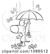 Clipart Outlined Dog Under An Umbrella In Bone Rain Royalty Free Vector Illustration