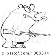 Clipart Outlined Armed Bear Royalty Free Vector Illustration