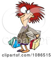 Clipart Frazzled Black Friday Shopper Woman Royalty Free Vector Illustration by Ron Leishman