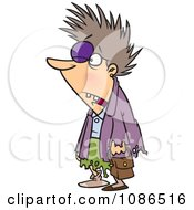Clipart Frazzled Woman Survived After Black Friday Shopping Royalty Free Vector Illustration