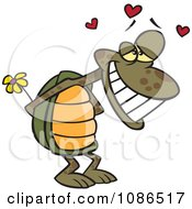 Clipart Infatuated Tortoise Holding Flowers Royalty Free Vector Illustration