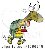 Clipart Tired Tortoise Walking In A Race Royalty Free Vector Illustration by toonaday