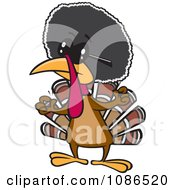 Clipart Jive Turkey Bird With An Afro Royalty Free Vector Illustration by toonaday