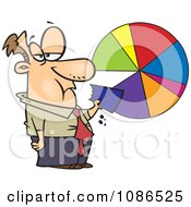 Clipart Businessman Eating A Pie Chart Royalty Free Vector Illustration by toonaday