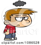 Clipart Grumpy Boy Under A Cloud Of Gloom Royalty Free Vector Illustration by toonaday