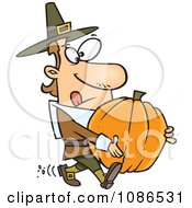 Clipart Pilgrim Man Carrying A Pumpkin Royalty Free Vector Illustration by toonaday