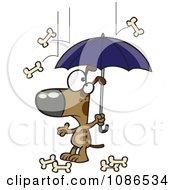 Clipart Dog Under An Umbrella In Bone Rain Royalty Free Vector Illustration