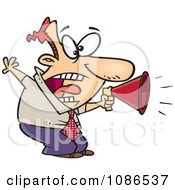 Clipart Businessman Shouting In A Megaphone Royalty Free Vector Illustration by toonaday