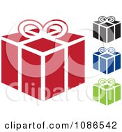 Clipart Red Black Blue And Green Gift Icons Royalty Free Vector Illustration by michaeltravers