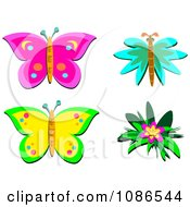 Butterflies And A Hibiscus Flower