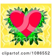 Red Heart With Leaves Over Yellow