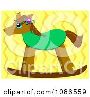 Clipart Rocking Horse Over Yellow Zig Zags Royalty Free Vector Illustration by bpearth