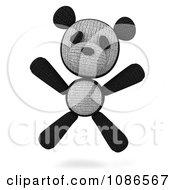 Clipart 3d Stuffed Panda Teddy Bear Jumping Royalty Free CGI Illustration