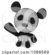 Clipart 3d Stuffed Panda Teddy Bear Waving 2 Royalty Free CGI Illustration