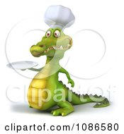 Clipart 3d Chef Crocodile Holding A Plate 2 Royalty Free CGI Illustration