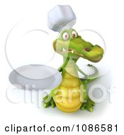 Clipart 3d Chef Crocodile Holding A Plate 3 Royalty Free CGI Illustration