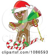Clipart Christmas Gingerbread Man Skiing On Candy Canes Royalty Free Vector Illustration by Maria Bell