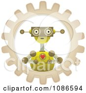 Clipart Loving Robot Holding A Heart In A Gear Cog Royalty Free Vector Illustration by mheld