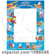 Clipart Frame Of Santas With Different Modes Of Transportation Around White Space Royalty Free Illustration