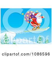 Clipart Santa Skiing In The Wilderness Royalty Free Illustration