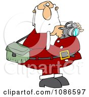 Clipart Santa Holding A Camera Royalty Free Vector Illustration