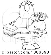 Clipart Outlined Santa Holding A Camera Royalty Free Vector Illustration