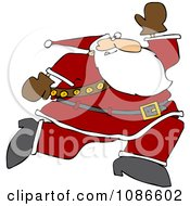 Clipart Santa Running Royalty Free Vector Illustration