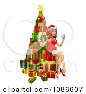 Clipart 3d Sexy Christmas Pinup Woman Sitting With Drinks On A Tree Of Gifts Royalty Free Vector Illustration