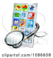 Clipart 3d Medical Stethoscope Around A Touch Screen Smart Cell Phone Royalty Free Vector Illustration