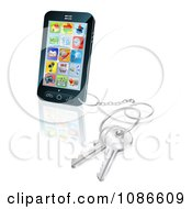 Clipart 3d Touch Screem Smart Cell Phone With A Key Ring Royalty Free Vector Illustration