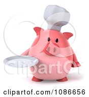 Clipart 3d Chef Pig Holding A Plate 1 Royalty Free CGI Illustration by Julos