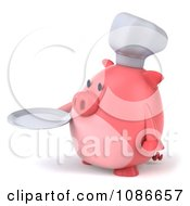 Clipart 3d Chef Pig Holding A Plate 2 Royalty Free CGI Illustration