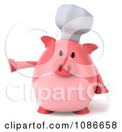 Clipart 3d Presenting Chef Pig Royalty Free CGI Illustration