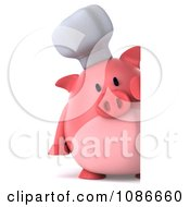 Clipart 3d Chef Pig With A Sign 2 Royalty Free CGI Illustration