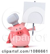 Clipart 3d Chef Pig With A Sign 3 Royalty Free CGI Illustration