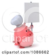 Clipart 3d Chef Pig With A Sign 4 Royalty Free CGI Illustration