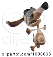 Clipart 3d Jumping Dachshund Wearing Sunglasses Royalty Free CGI Illustration