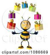 Clipart 3d Honey Bee Juggling Gifts 1 Royalty Free CGI Illustration