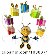 Clipart 3d Honey Bee Juggling Gifts 3 Royalty Free CGI Illustration
