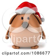 Clipart 3d Chubby Christmas Dog Wearing A Santa Hat Royalty Free CGI Illustration