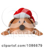 Clipart 3d Chubby Christmas Dog With A Sign 1 Royalty Free CGI Illustration