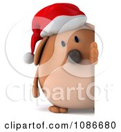 Clipart 3d Chubby Christmas Dog With A Sign 4 Royalty Free CGI Illustration